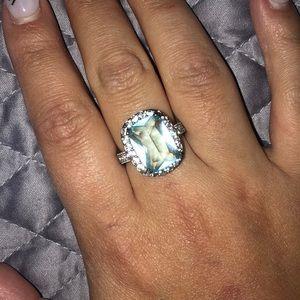 Light blue stone sterling silver diamond ring